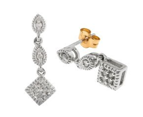 Pre-owned 9ct White Gold 0.12ct Diamond Drop Earrings