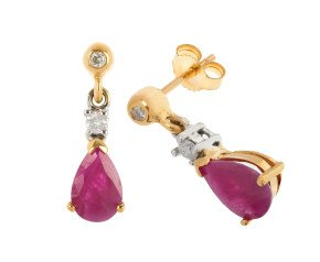 9ct Gold 1.60ct Ruby & Diamond Drop Earrings