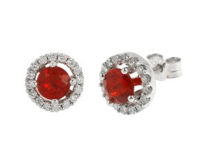18ct White Gold Fire Opal & Diamond Halo Stud Earrings