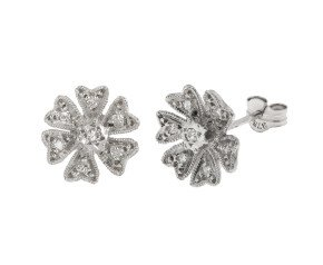 Pre-owned 9ct White Gold 0.10ct Diamond Flower Cluster Earrings