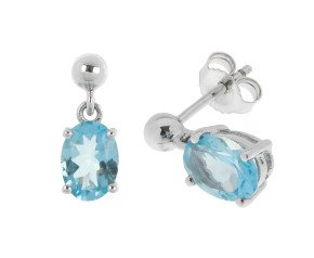9ct White Gold 0.80ct Aquamarine Drop Earrings