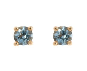 9ct Yellow Gold 0.20ct Round Aquamarine Solitaire Stud Earrings
