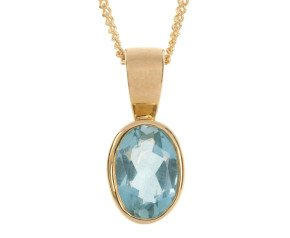 9ct Yellow Gold 0.50ct Oval Aquamarine Pendant