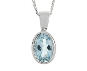 9ct White Gold 0.65ct Oval Aquamarine Solitaire Pendant