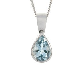 9ct White Gold 0.70ct Pear Aquamarine Solitaire Pendant