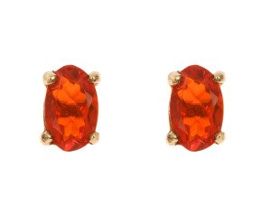 9ct Yellow Gold 0.40ct Fire Opal Solitaire Stud Earrings