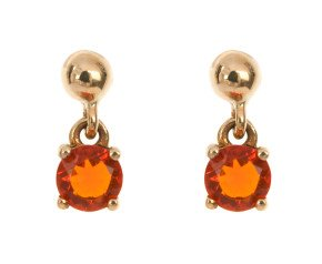 9ct Yellow Gold 0.40ct Fire Opal Drop Earrings