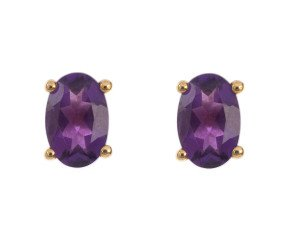 9ct Yellow Gold 0.80ct Oval Amethyst Solitaire Stud Earrings