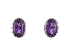 9ct White Gold 1ct Oval Amethyst Solitaire Stud Earrings
