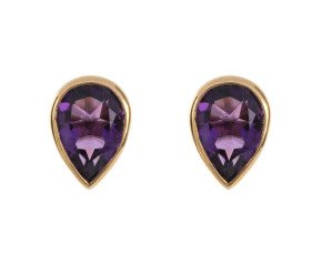 9ct Yellow Gold 1.35ct Pear Amethyst Solitaire Stud Earrings