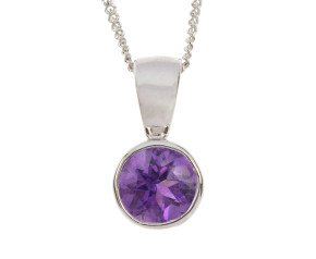 9ct White Gold 0.65ct Amethyst Solitaire Rub-over Pendant