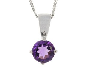 9ct White Gold 0.70ct Amethyst Solitaire Pendant