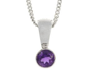9ct White Gold 0.30ct Amethyst Rub Over Solitaire Pendant