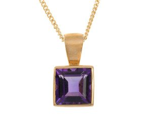9ct Yellow Gold 0.65ct Amethyst Solitaire Rub Over Pendant