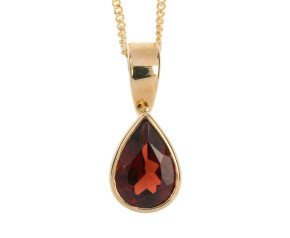 9ct Yellow Gold 0.80ct Pear Garnet Solitaire Rub Over Pendant