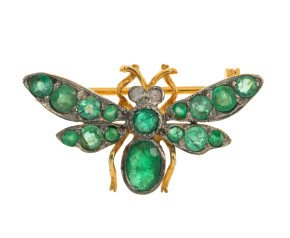 Emerald & Diamond Bee Brooch