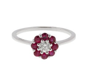 18ct White Gold 0.17ct Diamond & 0.44ct Ruby Cluster Ring