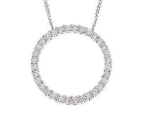 18ct White Gold 0.64ct Diamond Circle Pendant
