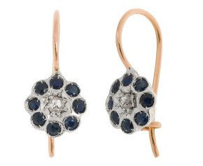 Handcrafted Italian Diamond & Sapphire Floral Drop Earrings