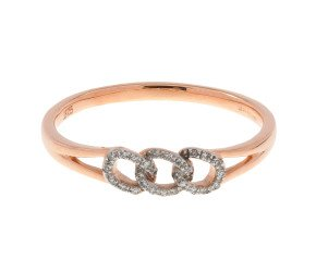 9ct Rose Gold Diamond Link Ring