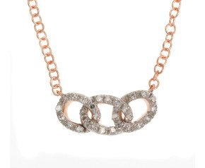 9ct Rose Gold Diamond Link Necklace
