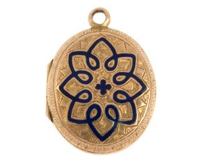 Antique Victorian 15ct Yellow Gold Enamel Pendant