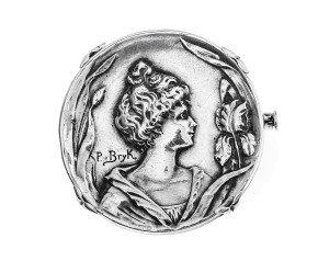 P Bryk Art Nouveau Silver Brooch