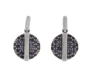 9ct White Gold Iolite Cluster Drop Earrings