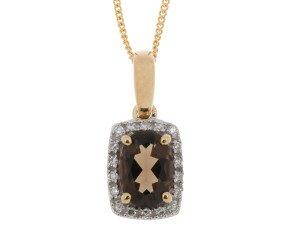 9ct Yellow Gold Smoky Quartz & Diamond Cluster Pendant