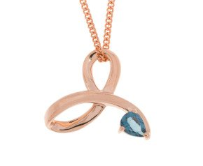 9ct Rose Gold London Blue Topaz Fancy Pendant