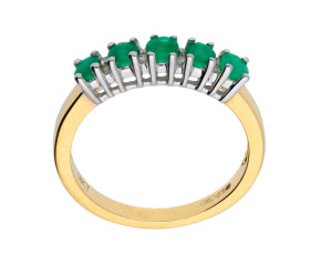 Yellow Gold 0.55ct Emerald & Diamond Dress Ring
