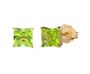 9ct Yellow Gold 1.40ct Peridot Square Solitaire Earrings