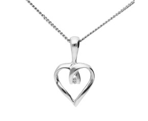 9ct White Gold 0.04ct Diamond Heart Pendant