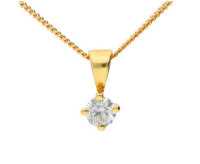18ct Yellow Gold 0.15ct Diamond Solitaire Pendant
