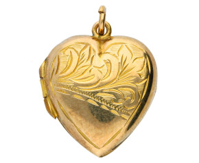 Vintage 9ct Yellow Front & Back Heart Locket