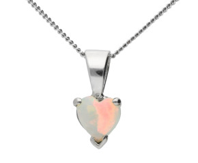 9ct White Gold Opal Heart Solitaire Pendant