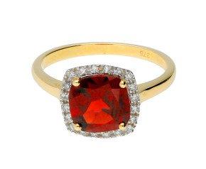 9ct Yellow Gold Garnet & Diamond Halo Ring