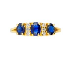 18ct Yellow Gold 1.25ct Sapphire & Diamond Dress Ring