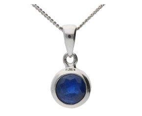 9ct White Gold 0.65ct Sapphire Pendant