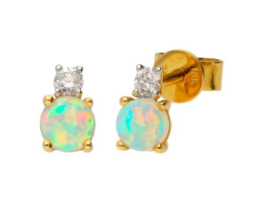 18ct Yellow Gold Opal & Diamond Stud Earrings