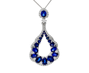 18ct White Gold 2.52ct Sapphire & 0.48ct Diamond Drop Pendant