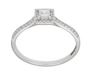 18ct White Gold Diamond Square Halo Ring