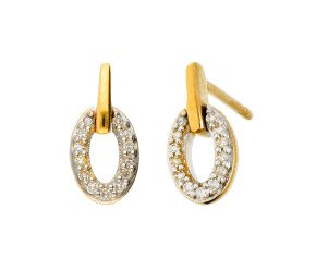 9ct Yellow Gold Diamond Drop Earrings
