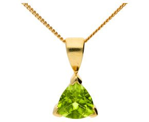 9ct Yellow Gold 1ct Peridot Solitaire Pendant