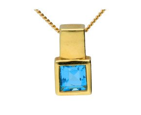 18ct Yellow Gold 0.35ct Square Topaz Solitaire Pendant