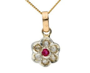 Handcrafted Italian Ruby & Diamond Floral Cluster Pendant
