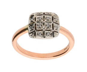 Handcrafted Italian 9ct Rose Gold Diamond Rectangular Custer Ring