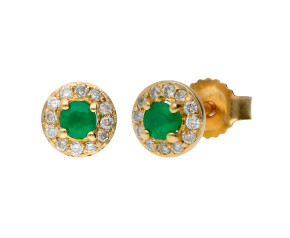 9ct Yellow Gold Emerald & Diamond Halo Cluster Stud Earrings