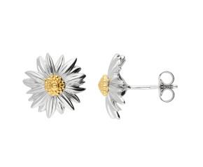 Silver & Yellow Gold Vermeil Marigold Flower Stud Earrings