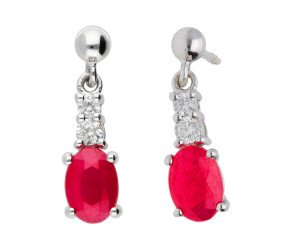 9ct White Gold 2ct Ruby & 0.19ct Diamond Drop Earrings